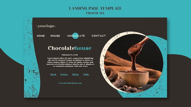 Modelo de página de destino de casa de chocolate