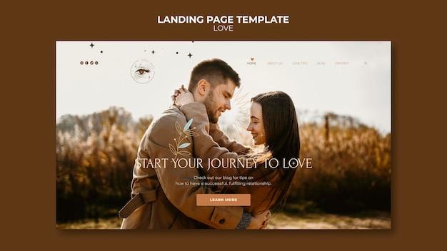 Modelo de página de destino de casal adorável