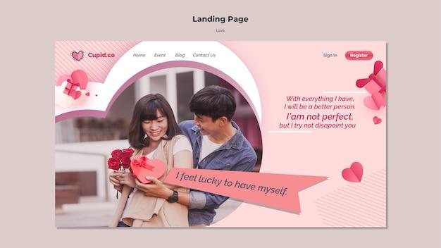 Modelo de página de destino de casal fofo