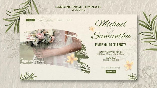 Modelo de página de destino de casamento elegante