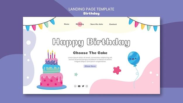 Modelo de página de destino de celebração de aniversário