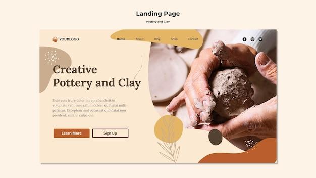 Modelo de página de destino de cerâmica e argila