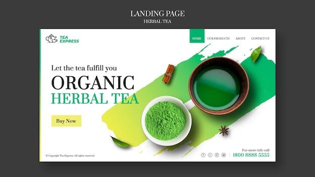 Modelo de página de destino de chá de ervas