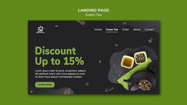 Modelo de página de destino de chá verde