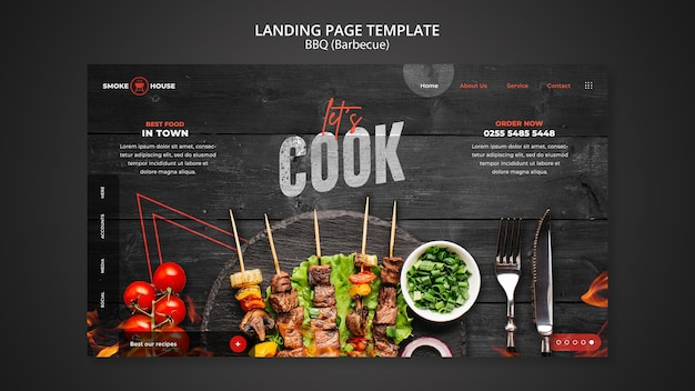 Modelo de página de destino de churrascaria