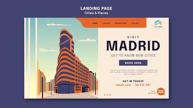 Modelo de página de destino de cidades e lugares
