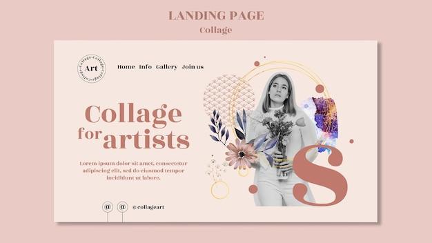 Modelo de página de destino de colagem para artistas