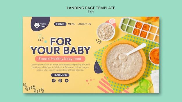 Modelo de página de destino de comida para bebê