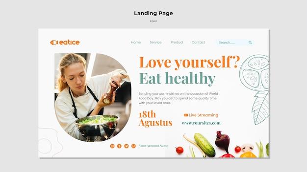Modelo de página de destino de comida saudável