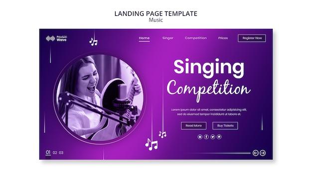 Modelo de página de destino de competição de canto Psd grátis