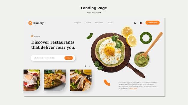 Modelo de página de destino de conceito de comida