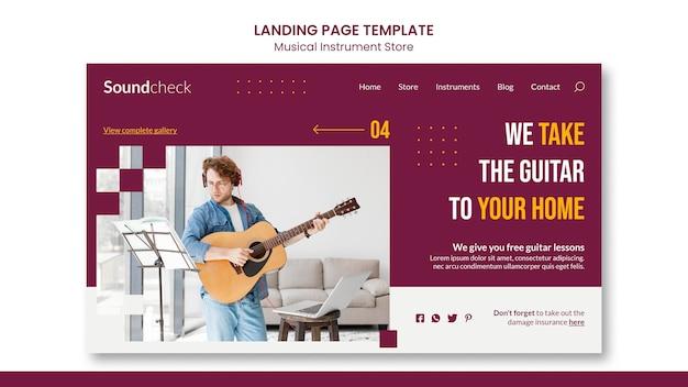 Modelo de página de destino de conceito de instrumento musical