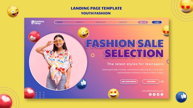 Modelo de página de destino de conceito de moda jovem