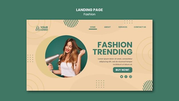 Modelo de página de destino de conceito de moda