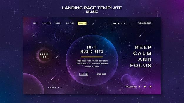 Modelo de página de destino de conceito de música