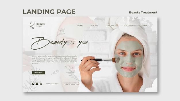 Modelo de página de destino de conceito de tratamento de beleza
