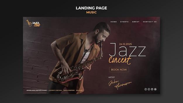 Modelo de página de destino de concerto de jazz
