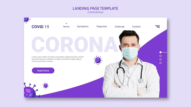 Modelo de página de destino de coronavírus