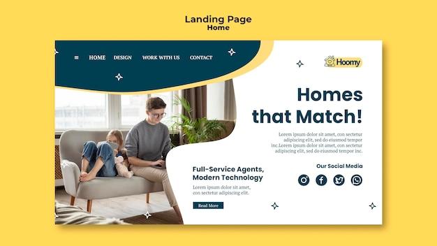 Modelo de página de destino de correspondência doméstica