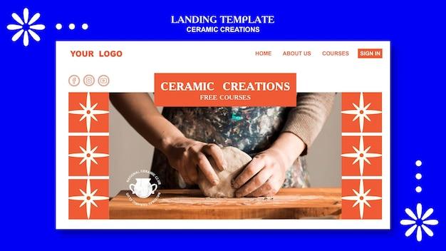 Modelo de página de destino de criações de cerâmica