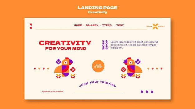 Modelo de página de destino de criatividade
