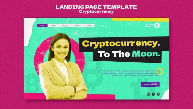 Modelo de página de destino de criptomoeda