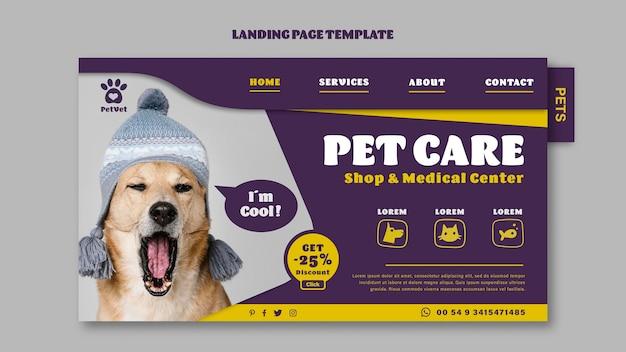 Modelo de página de destino de cuidados com animais de estimação