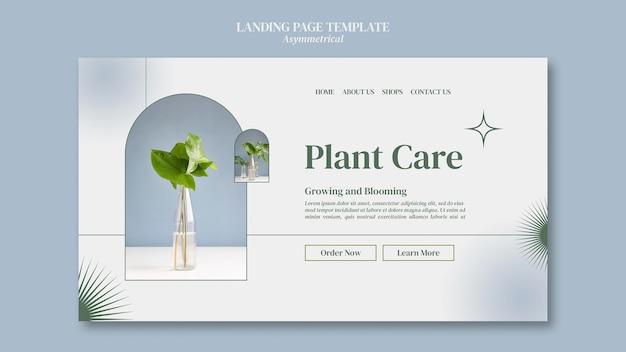 Modelo de página de destino de cuidados com plantas