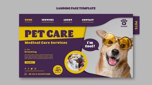 Modelo de página de destino de cuidados médicos para animais de estimação