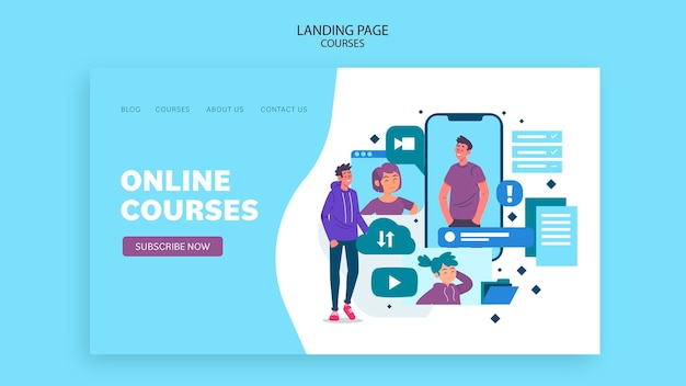 Modelo de página de destino de cursos online