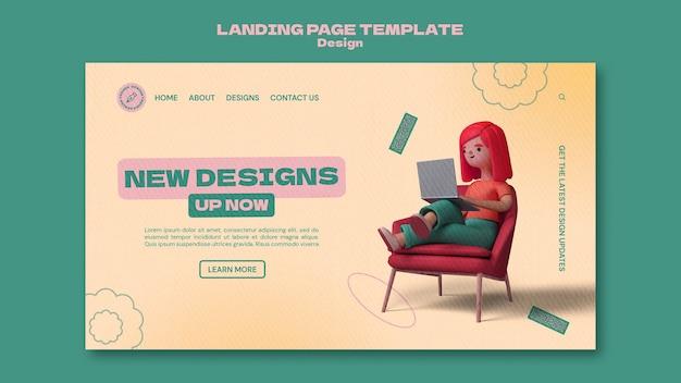 Modelo de página de destino de design 3d