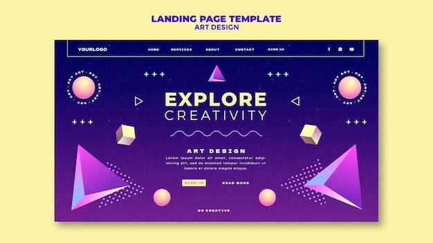 Modelo de página de destino de design de arte