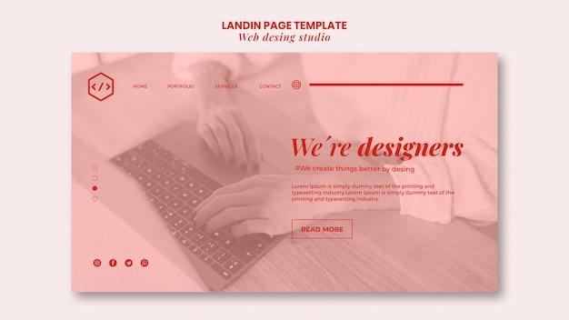 Modelo de página de destino de design de estúdio web