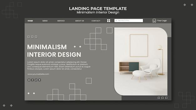 Modelo de página de destino de design de interiores minimalista