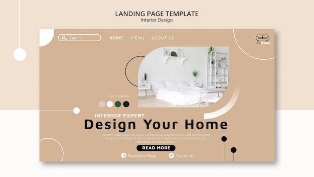 Modelo de página de destino de design de interiores