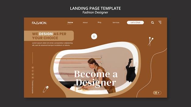 Modelo de página de destino de design de moda
