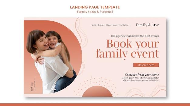 Modelo de página de destino de design familiar