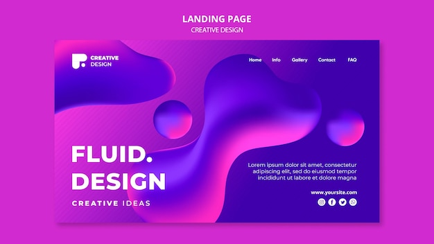 Modelo de página de destino de design fluido