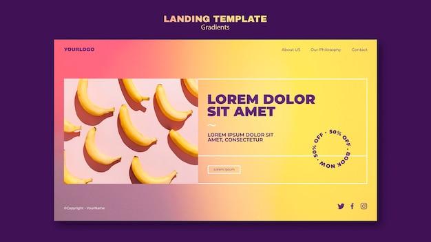 Modelo de página de destino de design gradiente