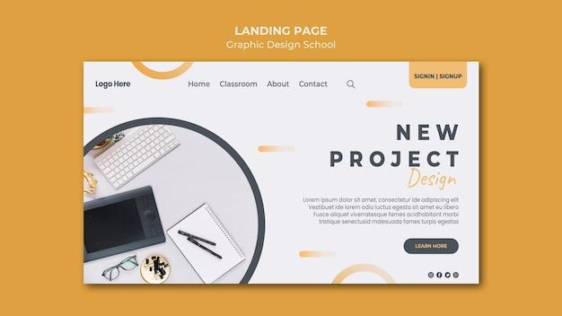 Modelo de página de destino de design gráfico