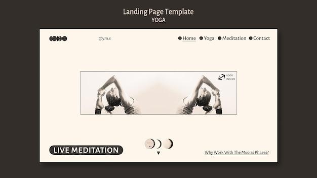 Modelo de página de destino de design incolor de ioga