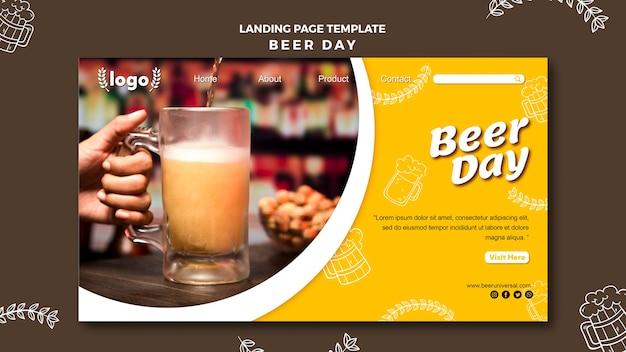 Modelo de página de destino de dia de cerveja