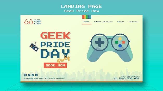 Modelo de página de destino de dia de orgulho nerd