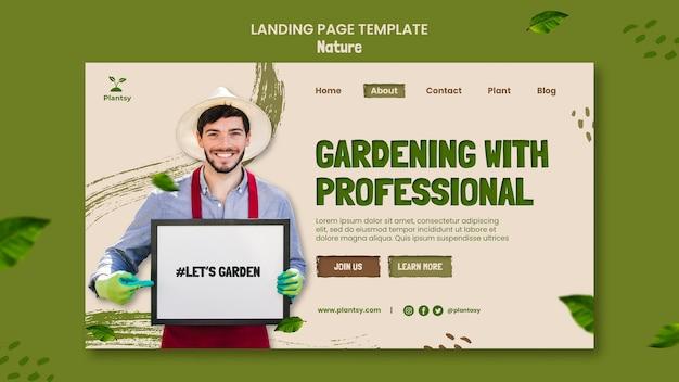 Modelo de página de destino de dicas de jardinagem