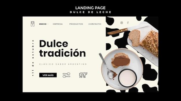 Modelo de página de destino de doce de leite conceito
