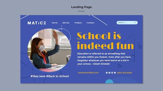 Modelo de página de destino de educação