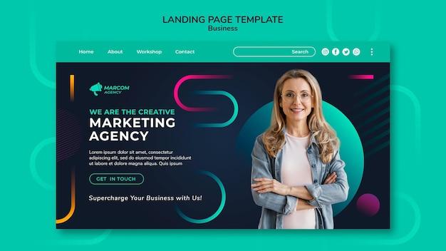 Modelo de página de destino de empresa comercial