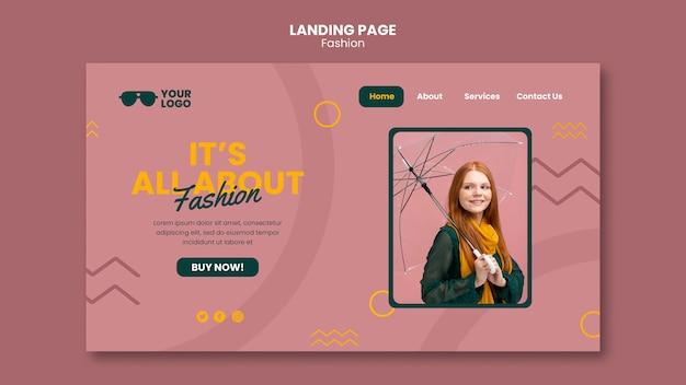 Modelo de página de destino de empresa de moda