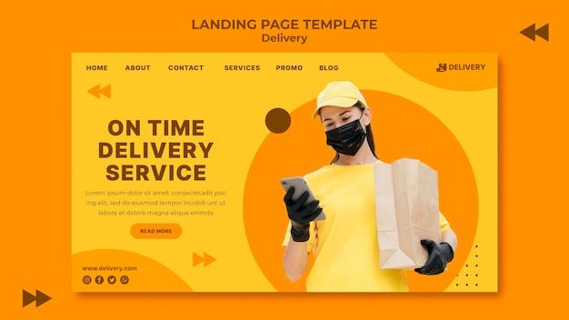 Modelo de página de destino de entrega