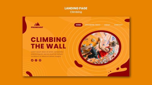 Modelo de página de destino de escalada em rocha
